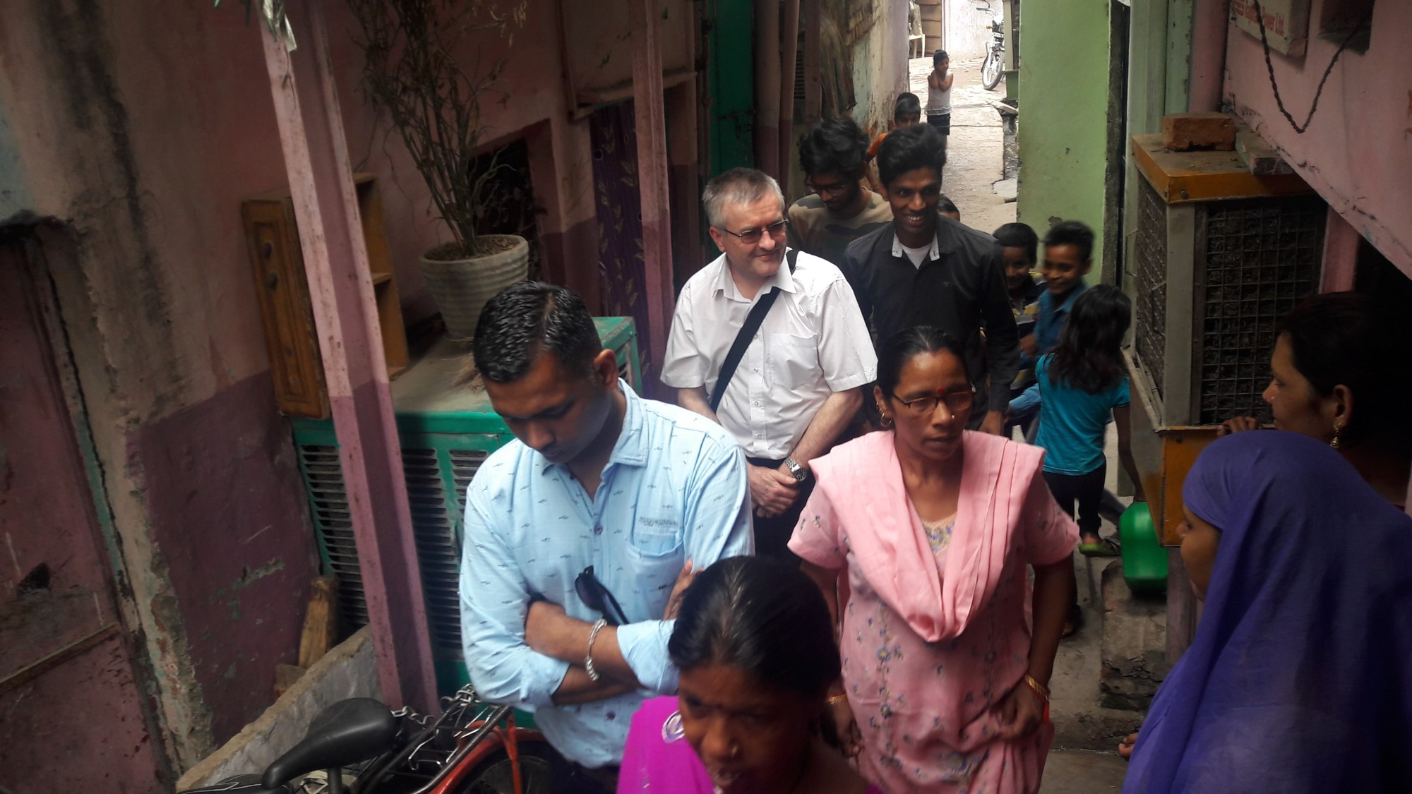 The team visiting Kanak Durga slum community