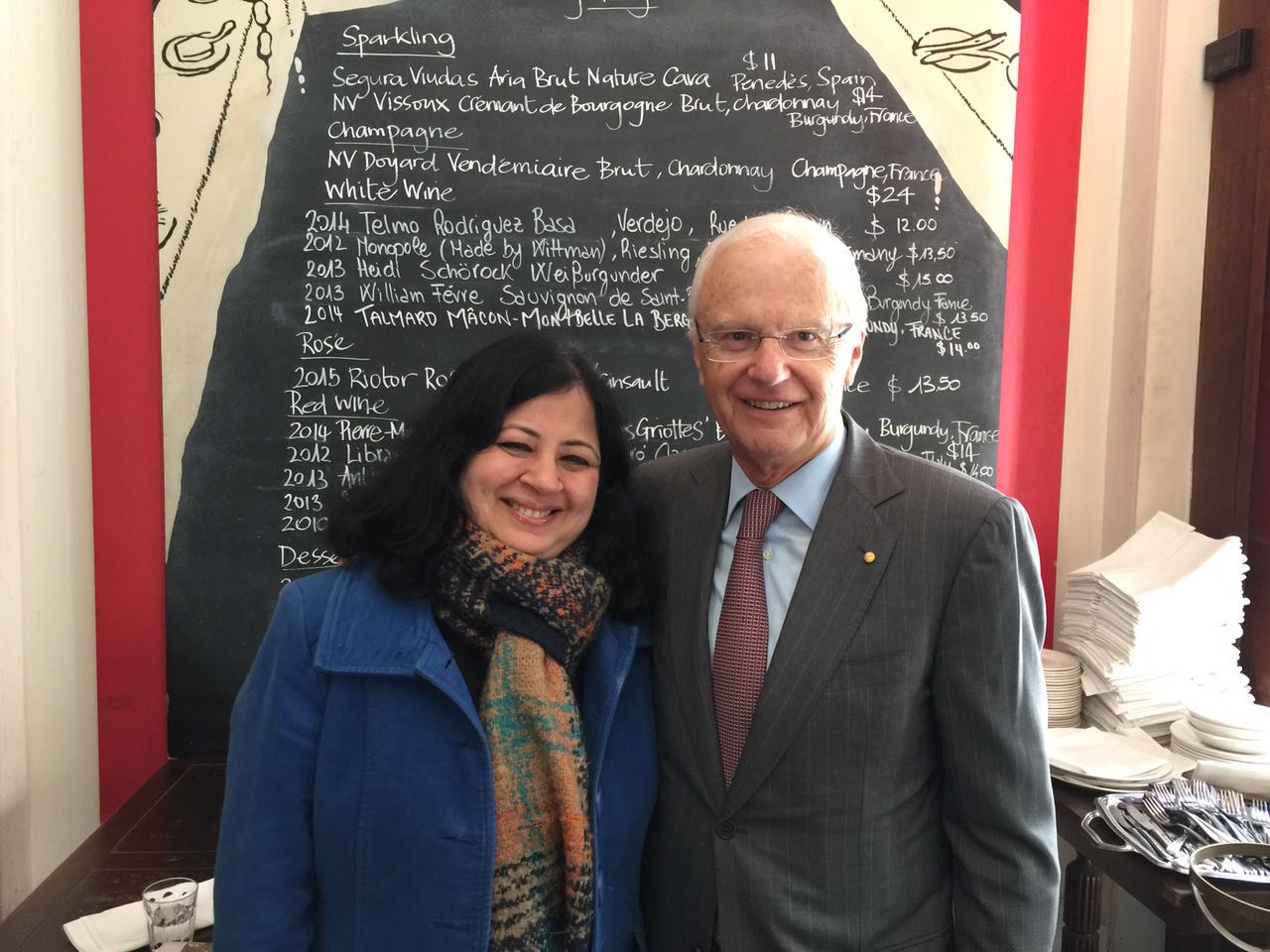 Dr Kiran with Alex Chernov, former Governor of Victoria