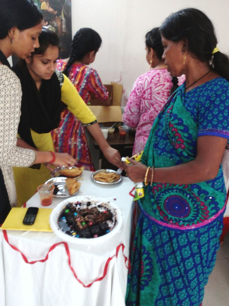 Volunteers and children at Kanak Durga celebrated the day with homemade cake.