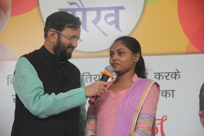 Mr Javadekar congratulated Sonam from Chanderpuri slum community for fighting all odds and scoring well in her school living exams.