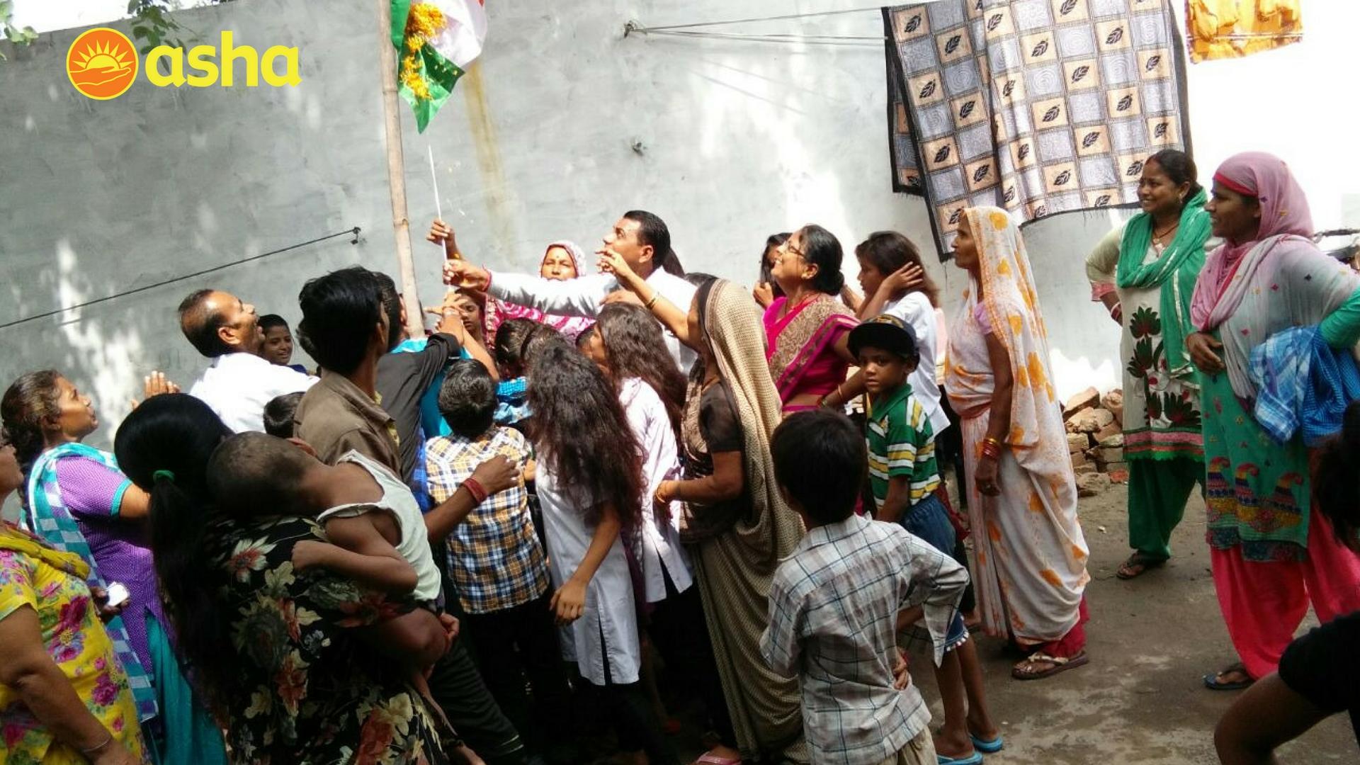 Flag hoisting at RK Puram slums (Mobile Health Van areas).
