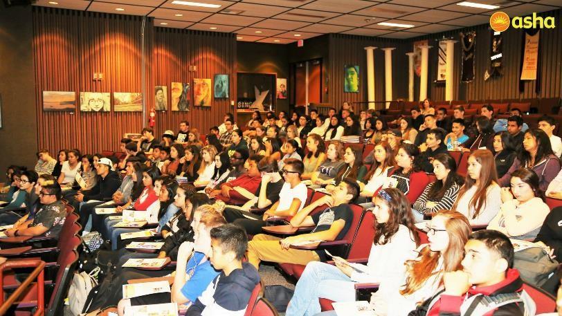 Students of Vintage High School gathered at Asha's visit.