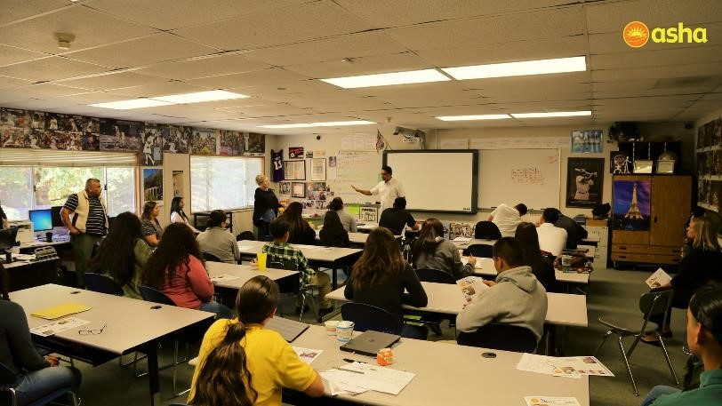 Freddy addressing the students at Chamberlain High School, USA.