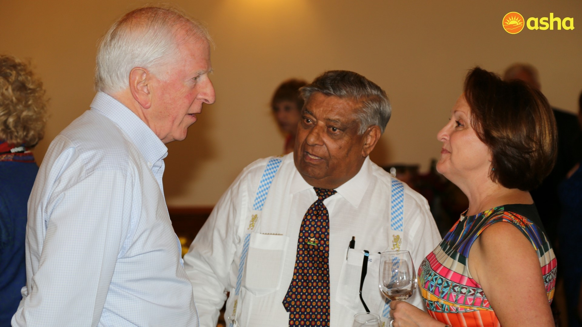 Congressman Mike Thompson, long-time Asha supporter Kailash Chaudhary and co-owner of the Jamieson Ranch, Anna Leigon at the Napa fundraising event.