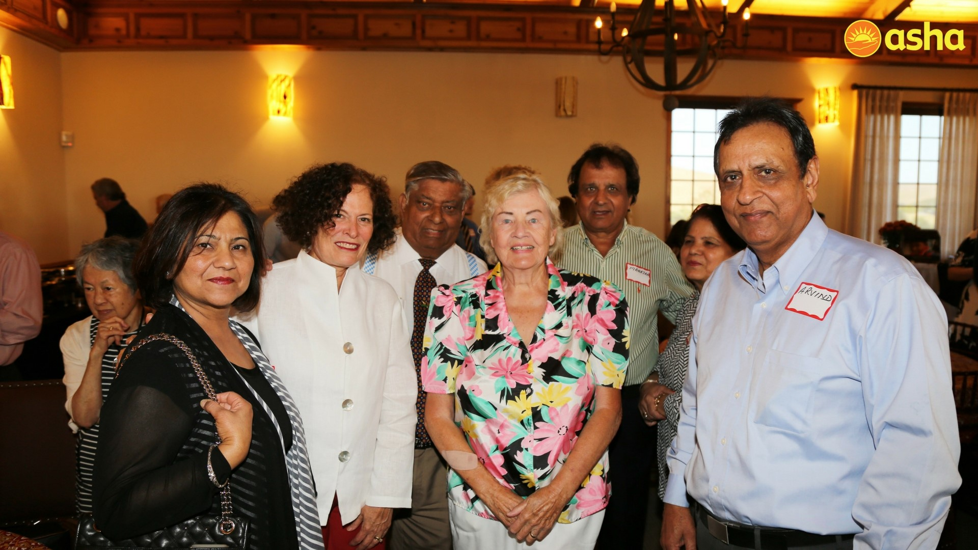 Long time Asha supporters (R-L) Mr Arvind, Gisela Chaudhary and Janet Thompson along with other supporters.