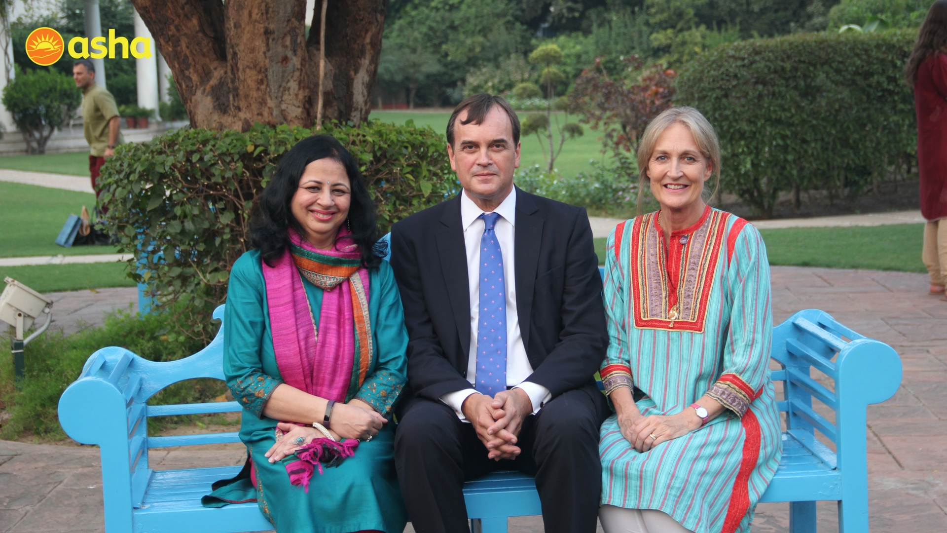 Dr. Kiran with the Honourable Sir Dominic Asquith KCMG and Lady Louise Asquith at the High Commissioner's residence.