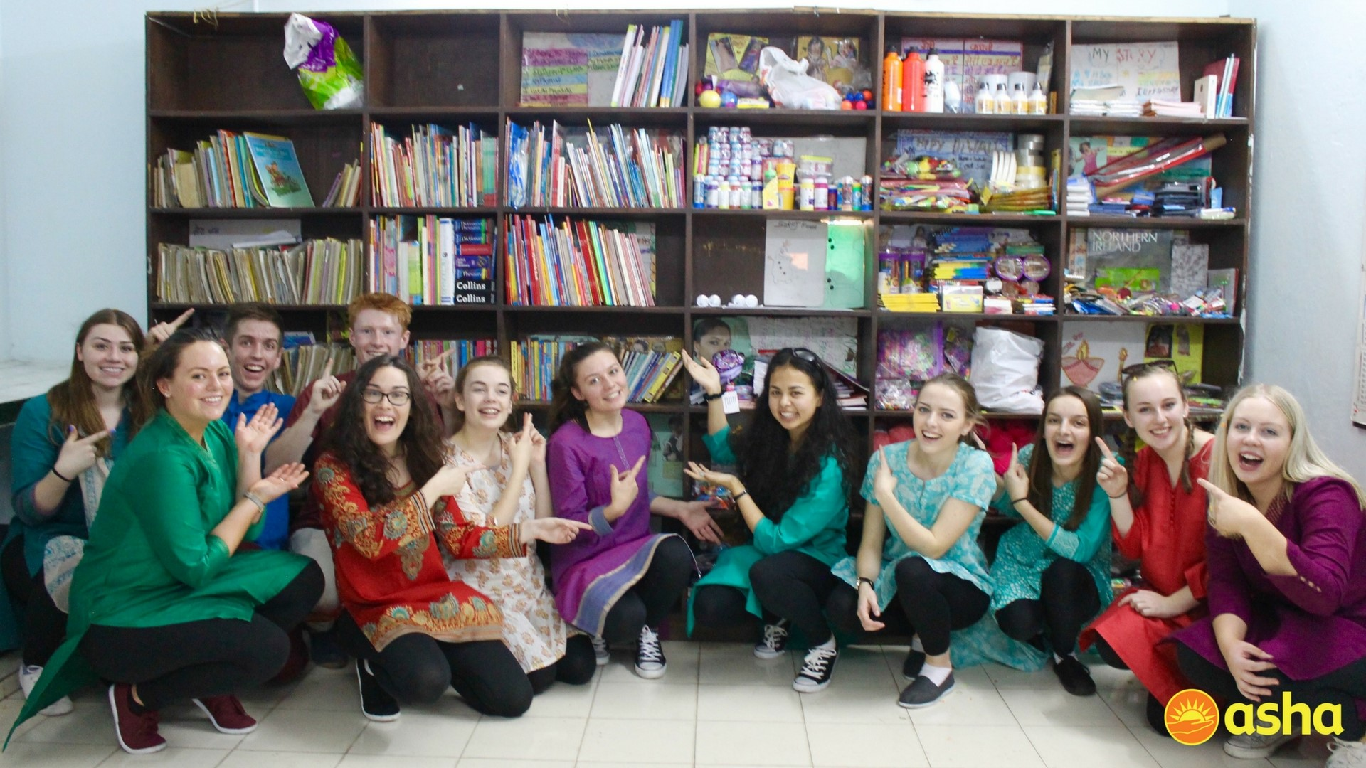 The Wallace team at the library in Mayapuri centre.