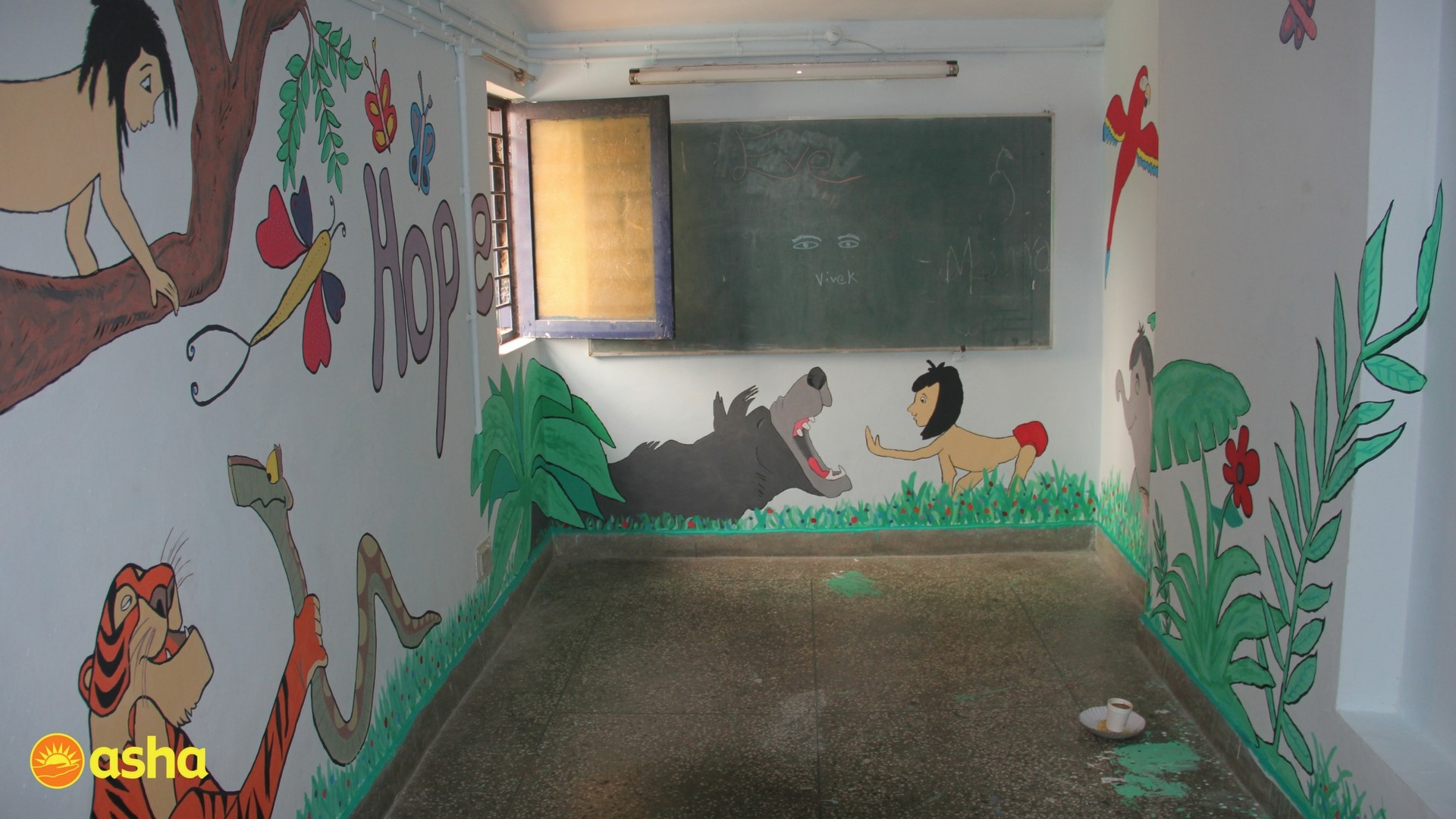 Beautiful murals made by the team.