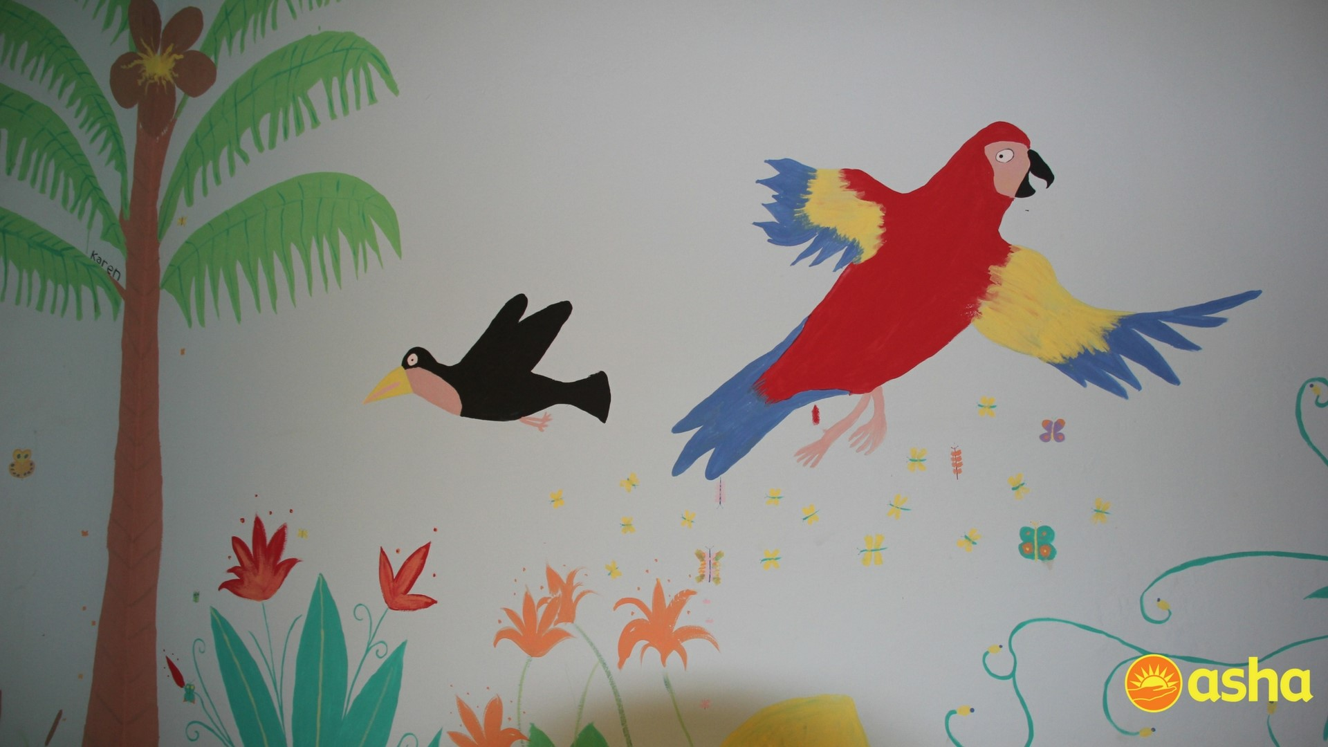 Some beautiful murals painted by the team.