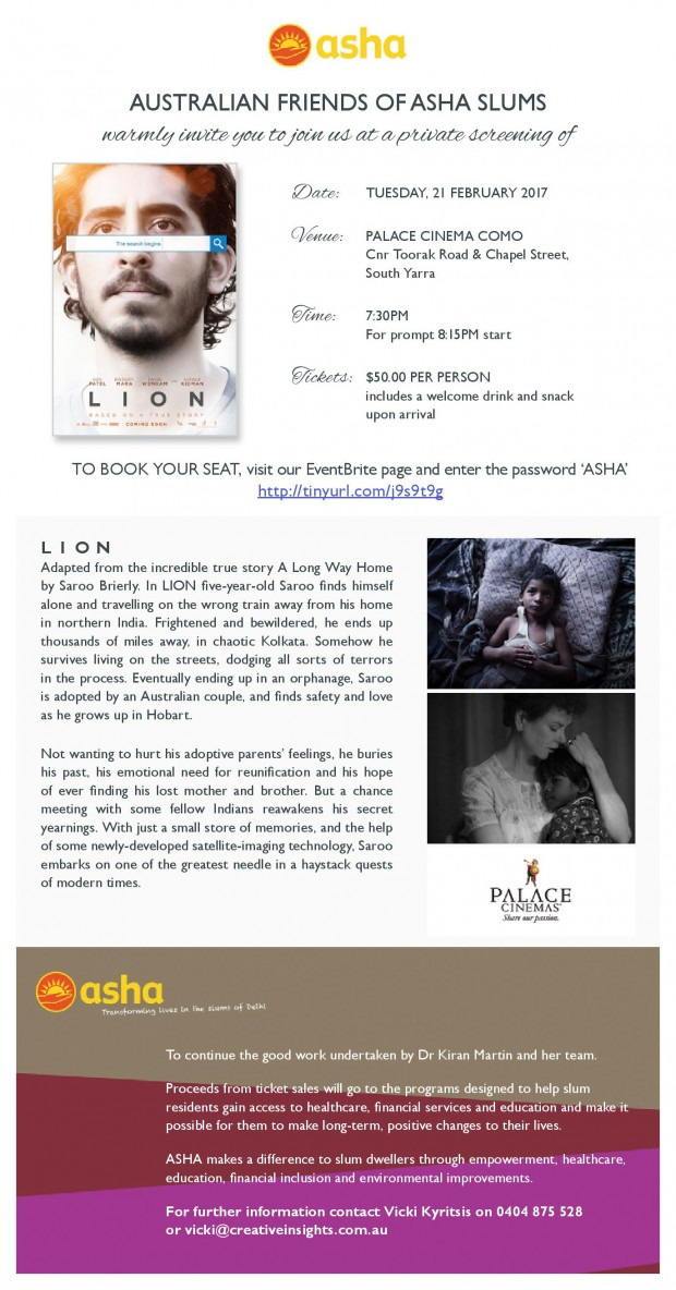 Enjoy An Evening of 'Lion' in Australia and Spread The Message Of Hope