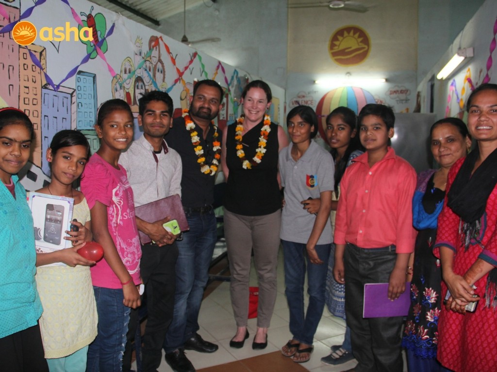 Asha's students with Sumit Chauhan and Susan Clear at Tigri centre