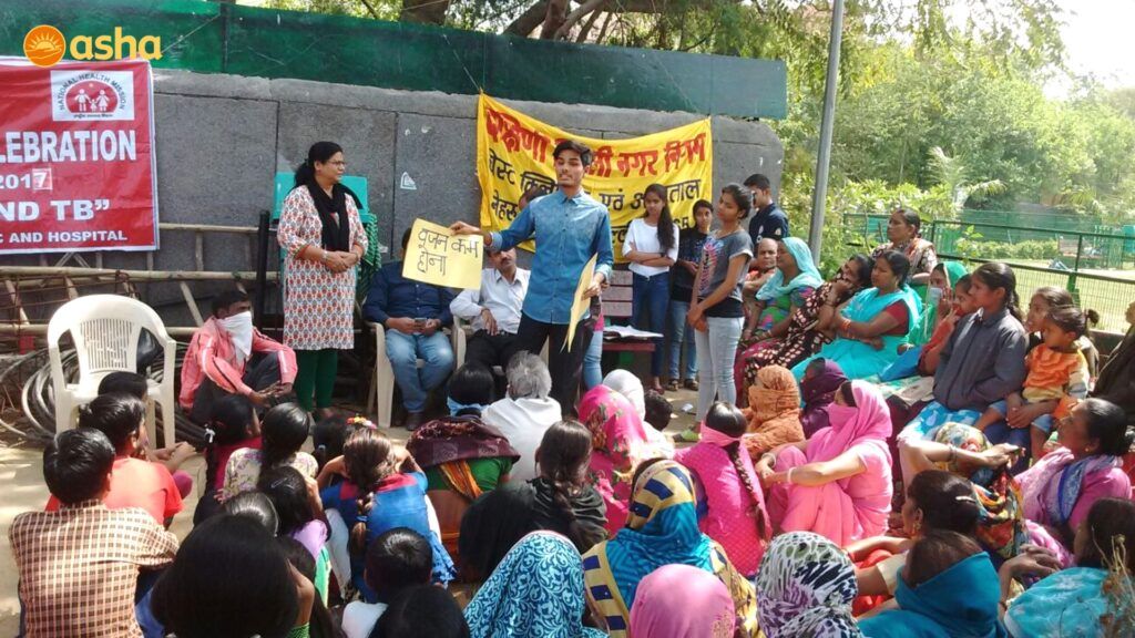 University Students of Kalkaji centre enacting a street-play on the benefits of a healthy and clean environment