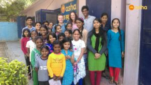 Dave and Chloe with the Children's Association at the Kanak Durga centre.