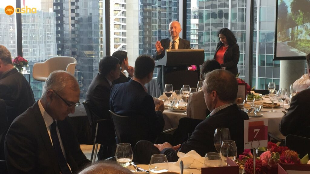 Australian Friends of asha ,Chiarman Mr Robert Johanson speaking at a lunch hosted by PwC