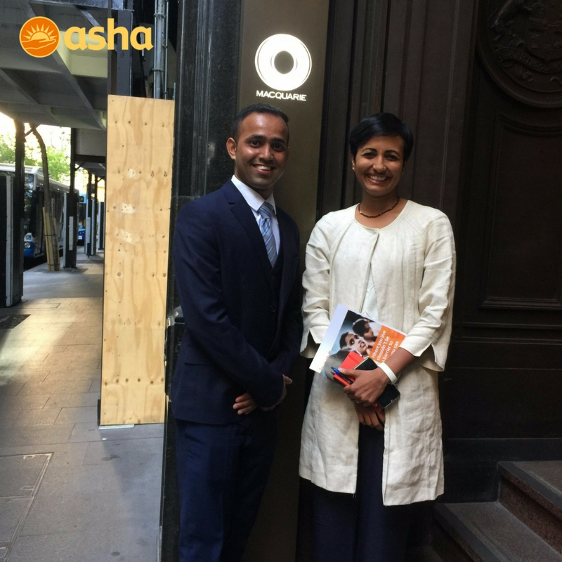 Asha graduate Mahinder with Shemara Wikramanayake, Head of Macquarie Asset Management