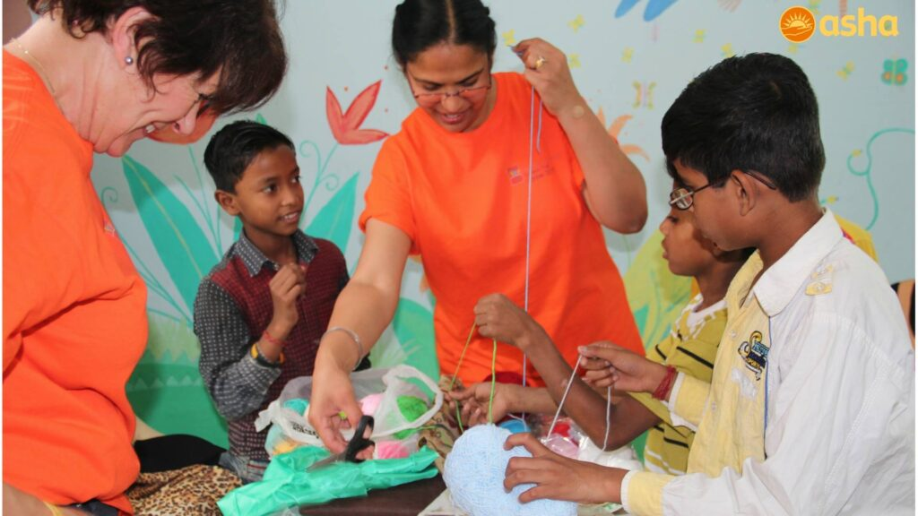 The team conducted art and craft sessions with the children.