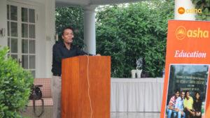 Tushar, Asha Ambassador during his speech
