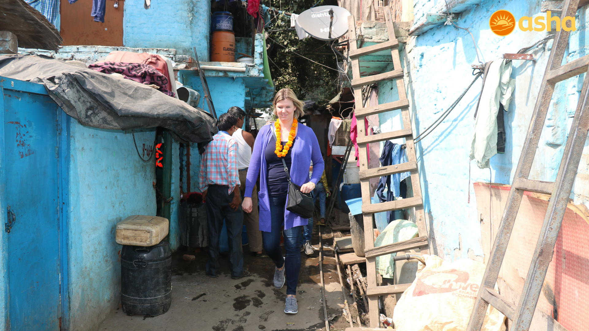 Jill on a visit to the slum