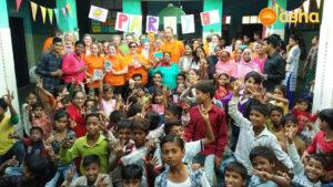David Briggs with his team at Asha's Seelampur slum community