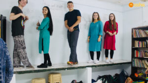 The Wallace team all set to spill colours on the wall
