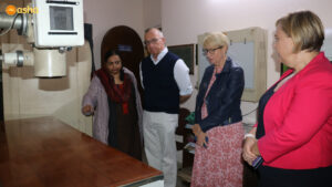 The Vice-Chancellor of the University of Sydney Mr Michael Spence AC, the Vice-Principal Mrs Tania Rhodes-Taylor and the Chief of Staff and Director Mrs Kirsten Andrews taking a round of Asha Polyclinic