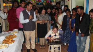 During the cake cutting ceremony