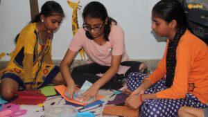 Avantika with the Asha children