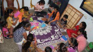 Avantika conducting an activity on craft