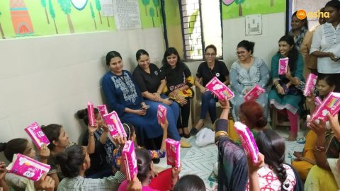 Workshop on menstrual hygiene at Asha's Kalkaji slum community