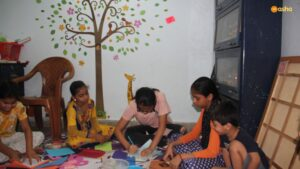 Avantika conducting an activity on painting