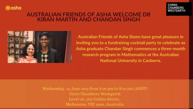 Australian Friends of Asha welcome Dr Kiran Martin and Chandan Singh