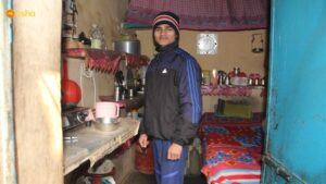 Firoz at his home in Sonia Gandhi slum colony