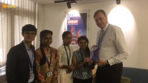 British High Commissioner Sir Dominic with Firoz with other Asha students