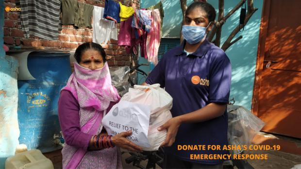 Asha COVID-19 Emergency Response: Asha provides groceries to slum dwellers