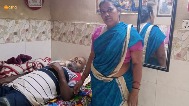 Loving wife takes care of paralysed husband with aid from Asha