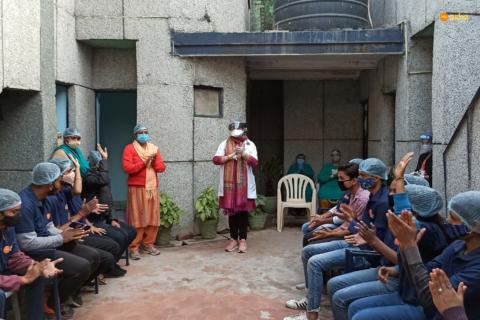 Dr Kiran visits new Asha students in Kalkaji slum community
