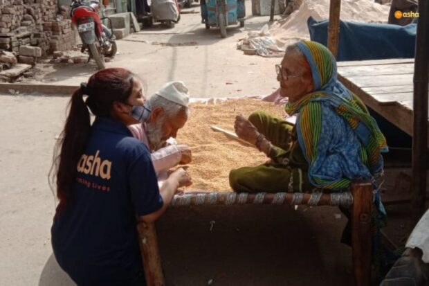 Elderly mother and son who were helpless and abandoned cared for by Asha